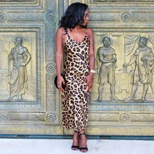 Leopard Satin Midi Slip Dress